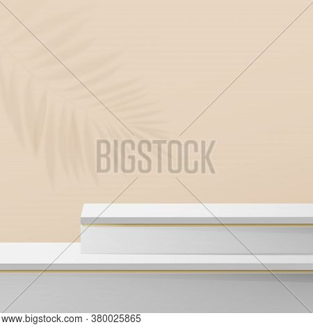 White And Gold Marble Podium Display Composition. Abstract Background For Product Presentation. 3d G