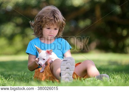 Child With Her Doggy Lying On Lawn. Cute Kid Enjoying With Her Best Friend Dog