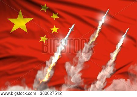 Modern Strategic Rocket Forces Concept On Flag Fabric Background, China Nuclear Missile Attack - Mil