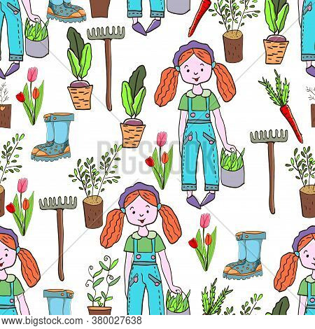 Gardening Seamless Pattern With Garden Elements: Rake, Shovel, Seedlings, Watering Can, Rubber Boots