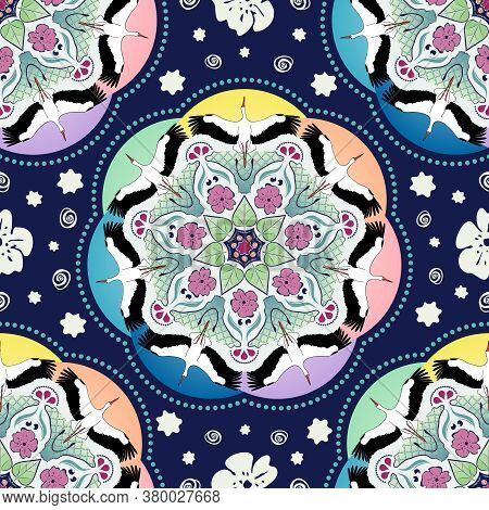 Flying Storks In A Circular Shaped Mandala With Flowers, Leaves, Curved Shapes And Rainbow Hues. Ins