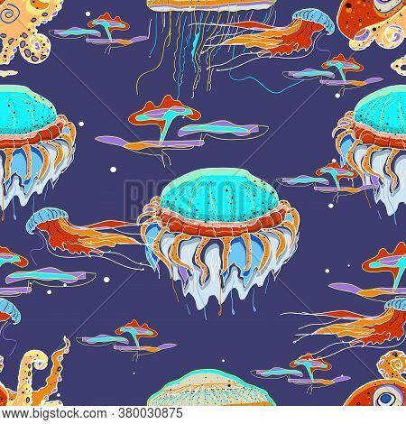 Bioluminescence Deep Underwater Sea Animals.vector Semless Pattern.  Jellyfish, Octopus.