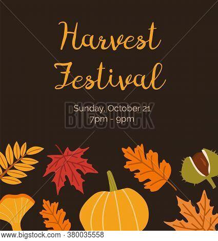 Harvest Festival Invitation Poster Flat Vector Templates. Botanical Banner Layouts. Leaves, Chestnut