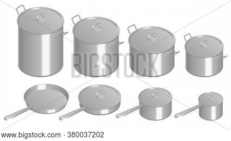 Isometric Set Of Stainless Pots And Pan With Glass Lids. Stainless Steel Pots And Pans Isolated On W