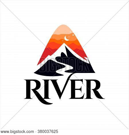 River Logo Simple Mountain Creek And Sunset Sky Nature Hill Vector Design Template