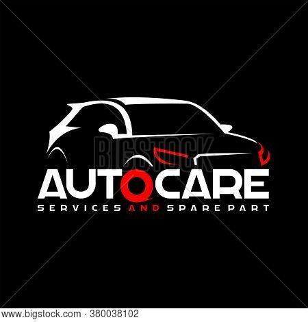 Automotive Auto Care Logo Template Modern Sport Car Vector Illustration With Red Color Sticker Or Pr