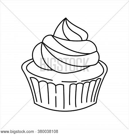 Cupcake Line Art Coloring Book Element Bakery And Sweet Cake For Children