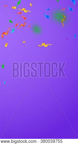 Streamers And Confetti. Festive Streamers Tinsel And Foil Ribbons. Confetti Falling Rain On Violet B