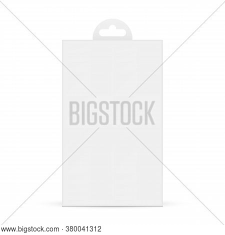 Paper Box With Hang Tab Isolated On White Background, Front View. Packaging Mockup For Protective Gl