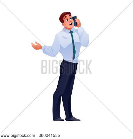 Man Talking On Phone, Businessman Call On Mobile, Vector Isolated Flat Cartoon Character. Businessma