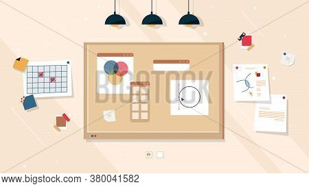 Creative Work Board Ideas And Business Project, Vector Corkboard Or Cork Whiteboard Background. Crea