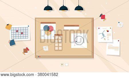 Creative Work Board Ideas And Business Project, Vector Corkboard Or Cork Whiteboard Background. Crea