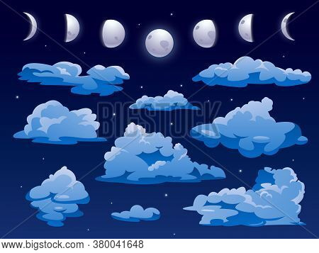 Clouds And Moon Ins Nigh Sky, Vector Cartoon Background. Night Sky Cloudscape With Abstract Shape Fl
