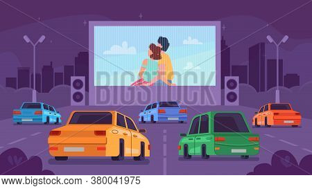 Car Cinema Or Drive Movie Theater With Romantic Couple On Screen, Vector Cartoon Background. Cars At