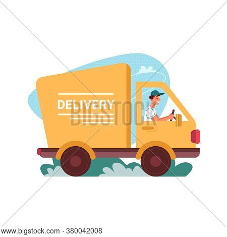 Delivery Courier Truck, Car Of Deliver Vector Flat Cartoon Icon. Man Driver In Delivery Van, Express