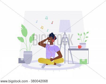 Black African American Man Listen Music At Home, Sitting On Floor, Vector Flat Cartoon Illustration.