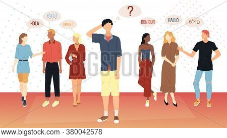 Social Communication Concept. Young People From Different Corners Of The World Greet Each Other In D