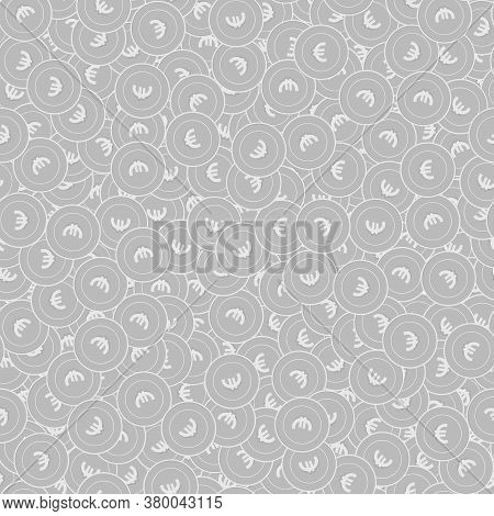 European Union Euro Silver Coins Seamless Pattern. Perfect Scattered Black And White Eur Coins. Succ