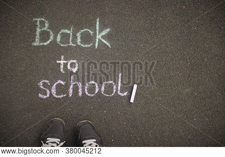 Education, Back To School Concept.chalk Inscription Back To School On The Schoolyard.top View With C