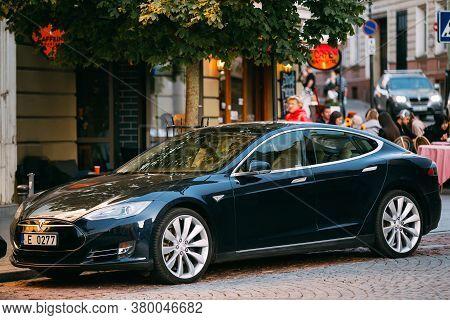 Vilnius, Lithuania - September 29, 2017: Tesla Model S Car In Motion On Street. The Tesla Model S Is