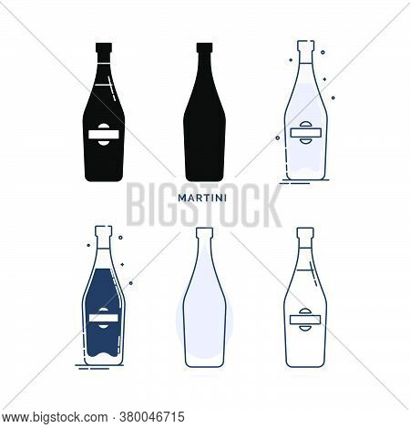 Set Of Bottles With Martini In Different Styles. Template Alcohol Beverage For Restaurant, Bar, Pub.