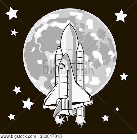 Space Travel To The Moon. Shuttle Rocket Launch. Space Exploration Concept. Elements Of This Image F