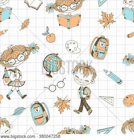 Seamless Pattern On The School Theme With Girls Boys And School Accessories. Back To School. Vector