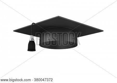 graduation cap on white background. Isolated 3D illustration