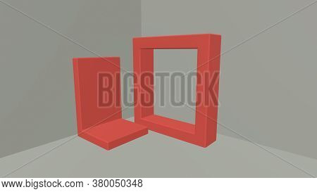Red Abstract Geometric Shape Group Set, Minimal Abstract Background, 3d Rendering, Scene With Geomet