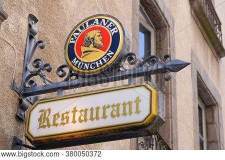 Bordeaux , Aquitaine / France - 08 04 2020 : Paulaner Logo And Restaurant Text Sign Of Beer On Stree
