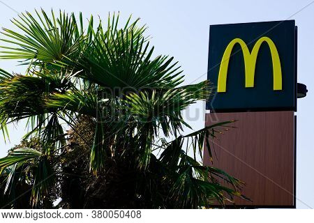 Bordeaux , Aquitaine / France - 08 04 2020 : Mcdonald's Sign M Yellow Logo On Restaurant Exterior Of