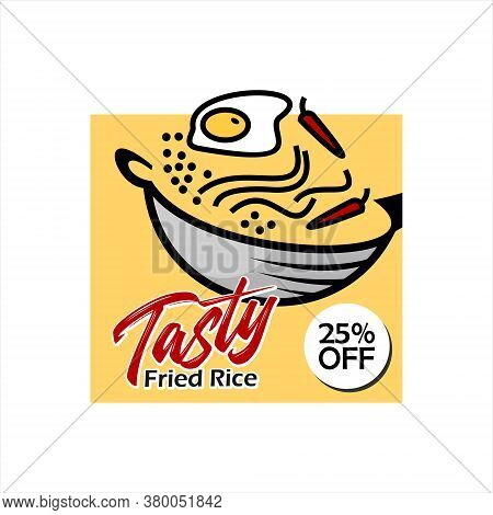 Fried Rice Poster Simple Modern Design Template. Street Food Culinary Vector Graphic Label Or Illust