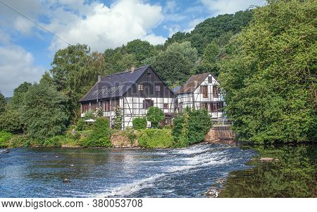 Traditional Half-timbered Houses Called Wipperkotten,wupper River,solingen,bergisches Land,germany