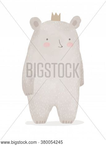 Hand Drawn Teddy Bear Isolated On A White Background. Cute King Bear Wearing A Gold Crown. King Of F