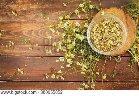 Organic camomile flowers on a wooden table, flat lay view