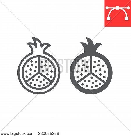 Pomegranate Line And Glyph Icon, Fruit And Punica, Garnet Sign Vector Graphics, Editable Stroke Line