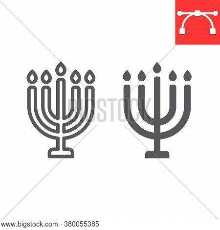 Big Menorah Line And Glyph Icon, Rosh Hashanah And Candle, Menorah Sign Vector Graphics, Editable St