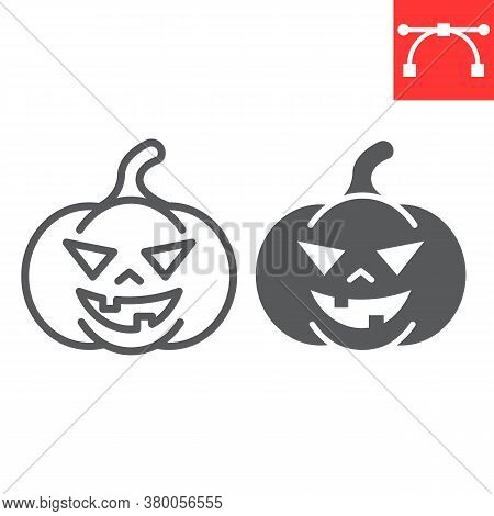 Halloween Pumpkin Line And Glyph Icon, Halloween And Scary, Pumpkin Sign Vector Graphics, Editable S