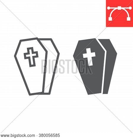 Coffin Line And Glyph Icon, Halloween And Scary, Casket Sign Vector Graphics, Editable Stroke Linear