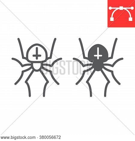 Spider Line And Glyph Icon, Halloween And Scary, Arachnid Sign Vector Graphics, Editable Stroke Line