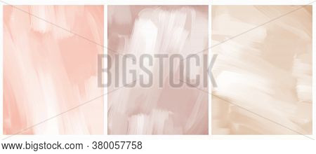 Simple Geometric Vector Blanks. Light Salmon Pink, Pale Red And Gold Free Hand Textured Background.
