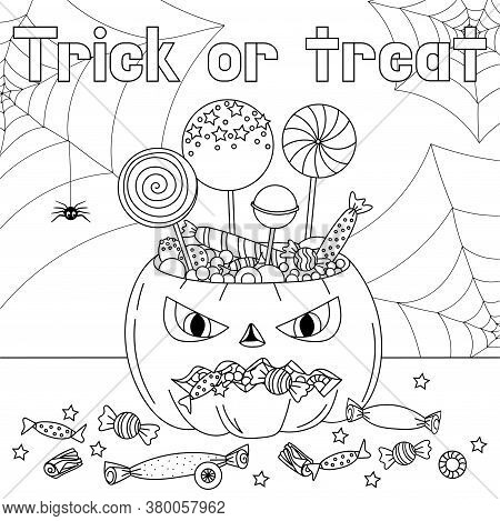 Trick Or Treat Coloring Page. Halloween Coloring Page For Kids. Cartoon Children In Halloween Costum