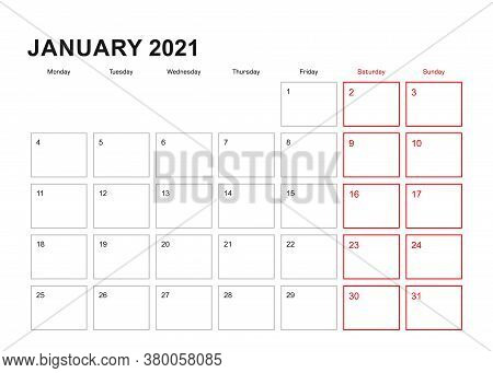 Wall Planner For January 2021 In English Language, Week Starts In Monday. Vector Calendar 2021.