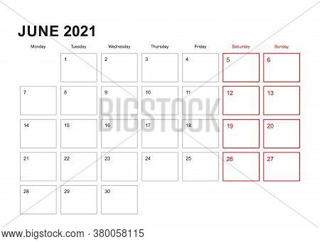 Wall Planner For June 2021 In English Language, Week Starts In Monday. Vector Calendar 2021.