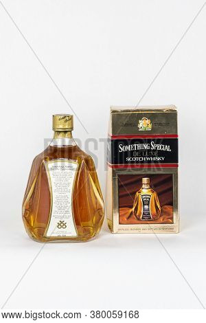 Palma, Mallorca, Spain - April 11 2019: Something Special De Luxe Scotch Whisky Back Side Bottle, Wh