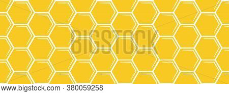 Yellow Horizontal Hexagon Bees Hive Cells Seamless Pattern. Abstract Beehive Plate Background. Vecto