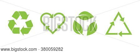 Recycle Vector Icon Set. Arrows, Heart And Leaf Recycle Eco Green Symbol. Rounded Angles. Recycled S