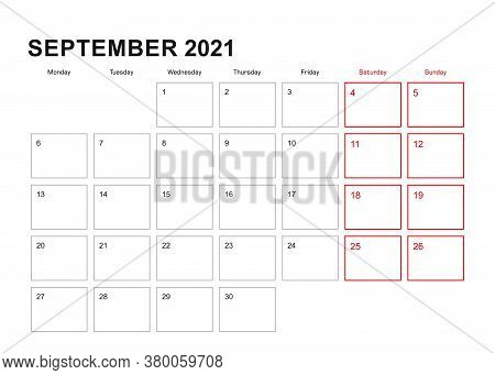 Wall Planner For September 2021 In English Language, Week Starts In Monday. Vector Calendar 2021.