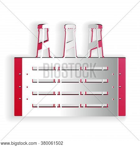 Paper Cut Pack Of Beer Bottles Icon Isolated On White Background. Wooden Box And Beer Bottles. Case