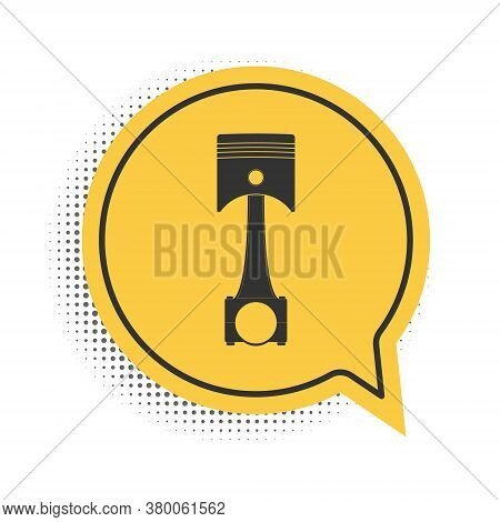 Black Engine Piston Icon Isolated On White Background. Car Engine Piston Sign. Yellow Speech Bubble